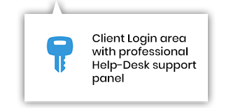 Client login area with professional Help-Desk support panel