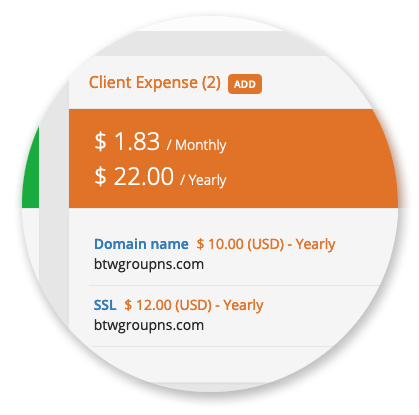 Clients Manager - Client Expenses List & Totals