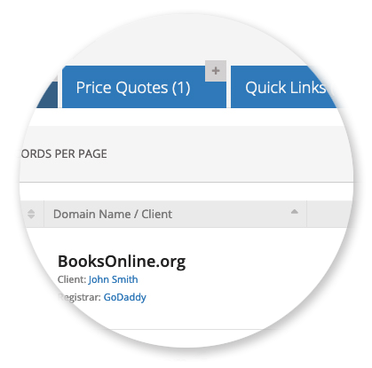 Clients Manager - Price Quotes tab