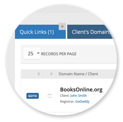 Domain Manager - Quick Links
