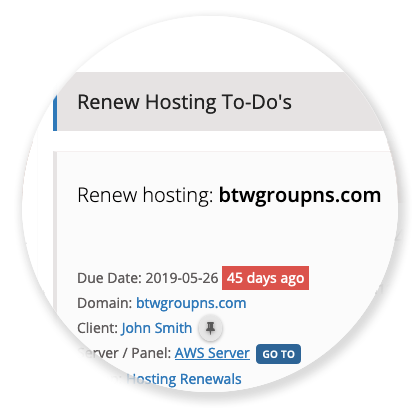 To-Do's - Hosting Renewals List